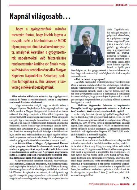 Magyar Gyógyszerészi Kamara – MNNSZ együttműködés Interjú Kiss Ernővel az MNNSZ elnökével